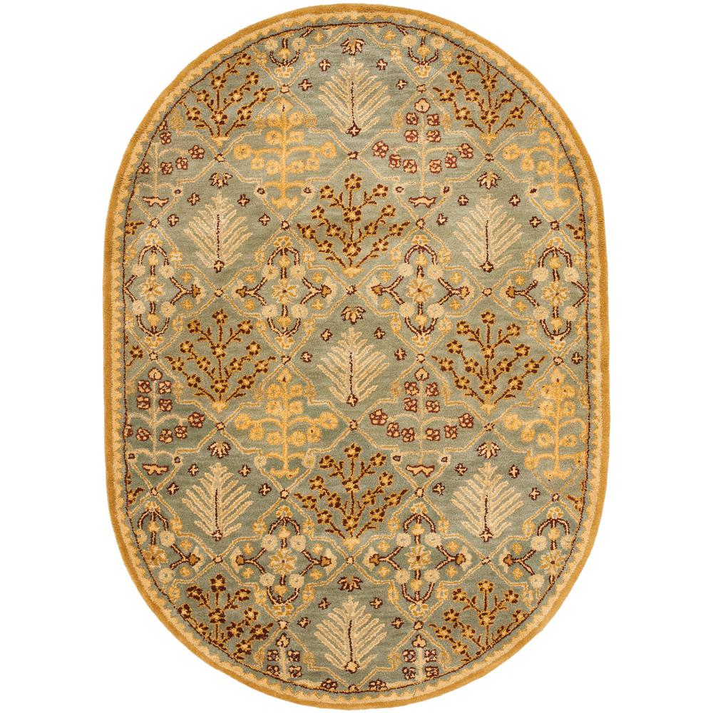 Safavieh Antiquity Light Blue/Gold 5 Ft. X 7 Ft. Oval Area