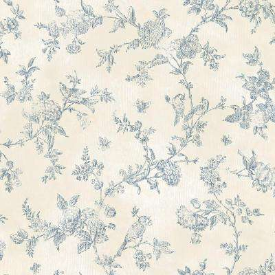 French Nightingale Blueberry Toile Wallpaper