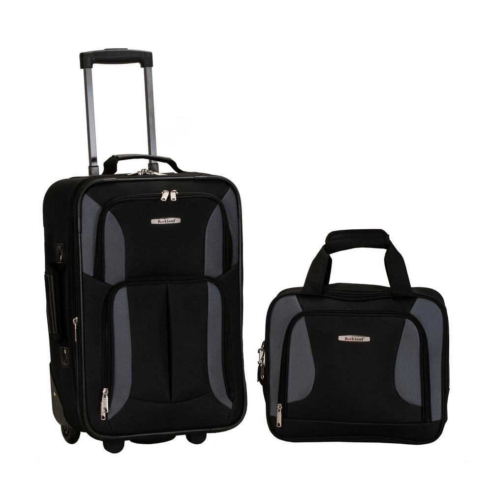 ada7cb2390cb Rockland Rio Expandable 2-Piece Carry On Softside Luggage Set, Black/Gray