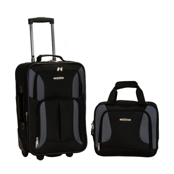 Rockland Rio Expandable 2-Piece Carry On Softside Luggage Set, Black/Gray