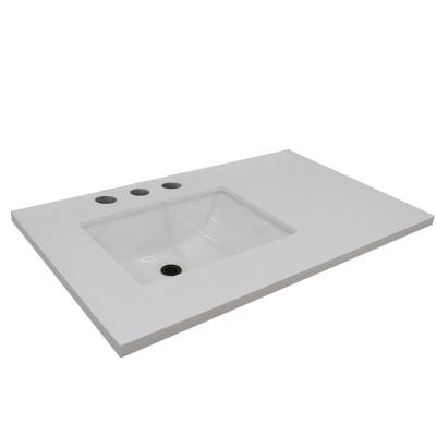 37 in. W x 22 in. D 2 in. H White Quartz Vanity Top with Left Side Rectangular Sink