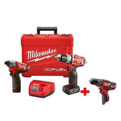 M12 FUEL 12-Volt Lithium-Ion Brushless Cordless 1/2 in. Drill/Impact Combo Kit with M12 3/8 in. Hammer Drill (Tool Only)
