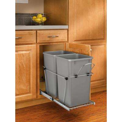 19.25 in. H x 11.81 in. W x 22.25 in. D Double 27 Qt. Pull-Out Silver and Chrome Waste Container