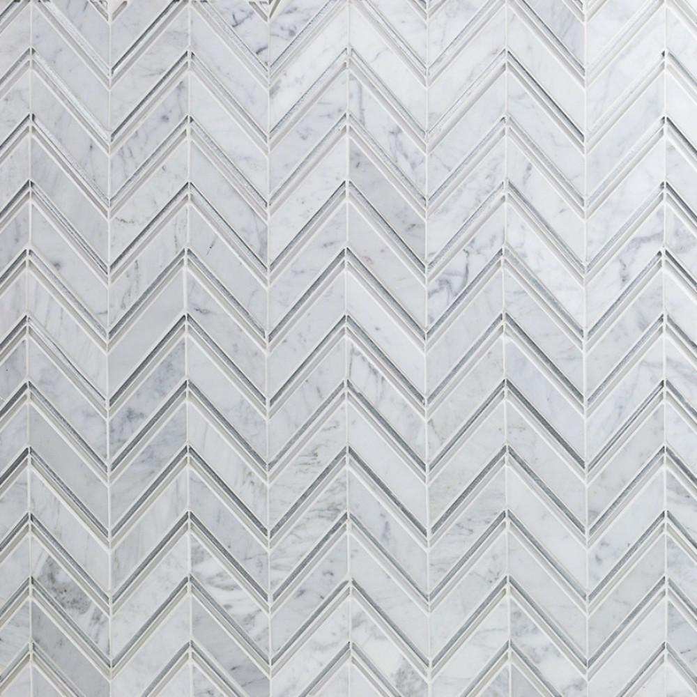 Royal Herringbone Winter 10-1/2 in. x 12 in. x 10 mm Polished Marble Mosaic Tile