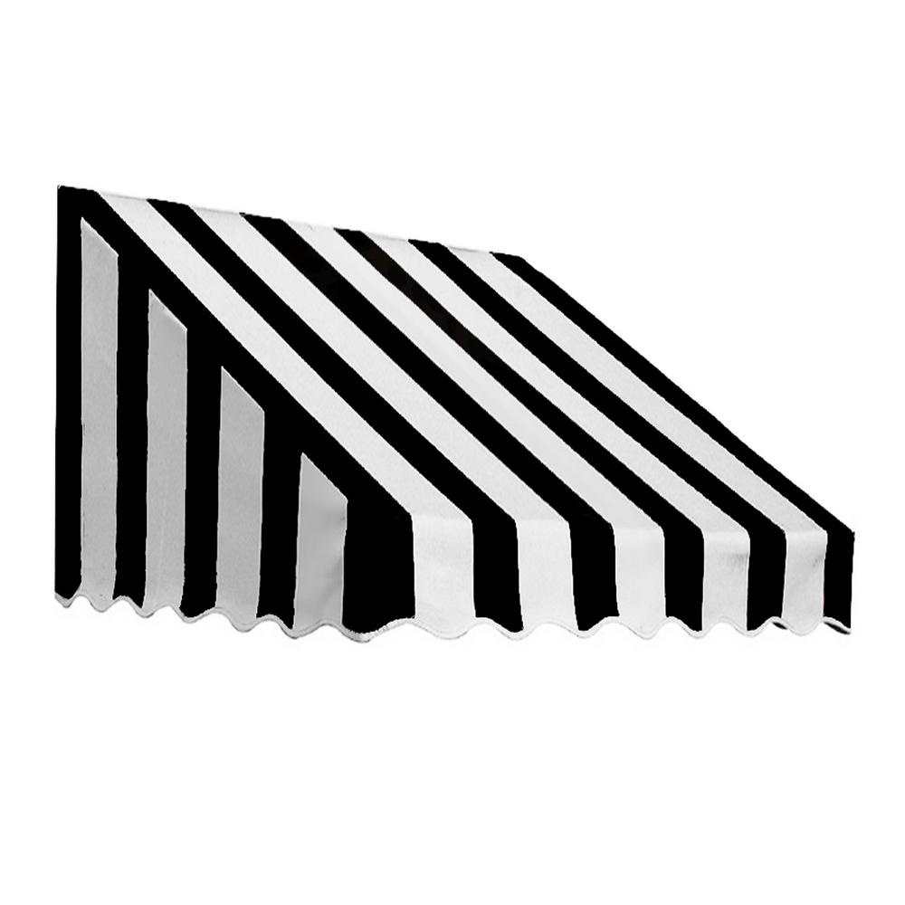 AWNTECH 3.38 ft. Wide San Francisco Window/Entry Awning (31 in. H x 24 in. D) Black/White
