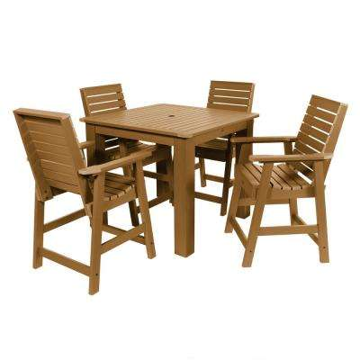 Weatherly Toffee 5-Piece Recycled Plastic Square Outdoor Balcony Height Dining Set
