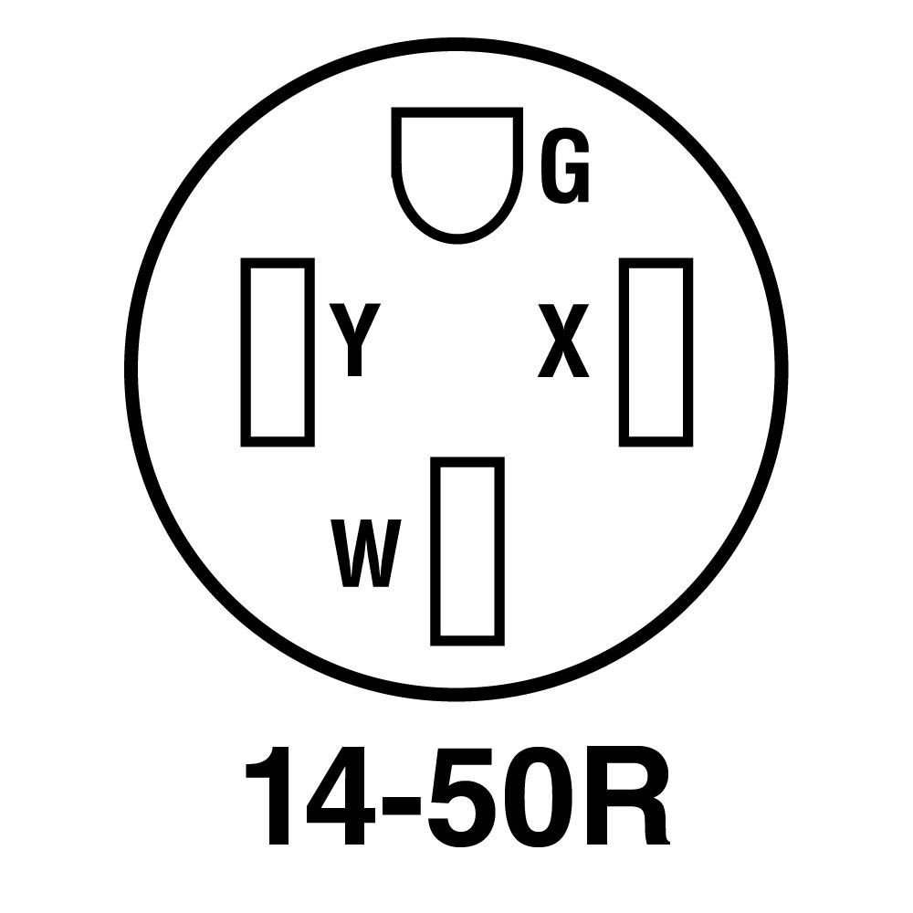 55050 50 Amp 125//250 Volt NEMA 14 50R 3P 4W Surface Mounting Recept BLACK 1 Pack