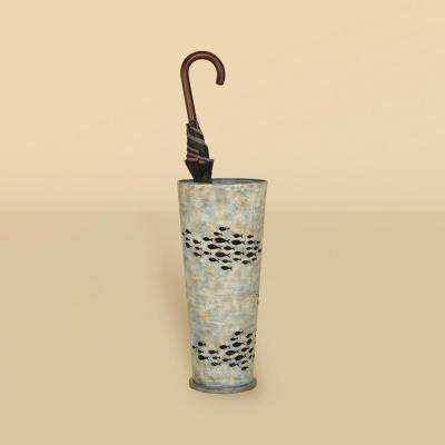 Weathered Blue Fish Umbrella Stand
