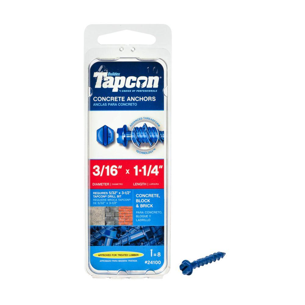 Tapcon 3/16 in. x 1-1/4 in. Hex-Washer-Head Concrete Anchors (8-Pack)