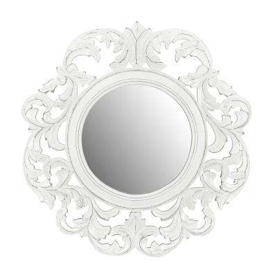 Coley White Carved Mirror