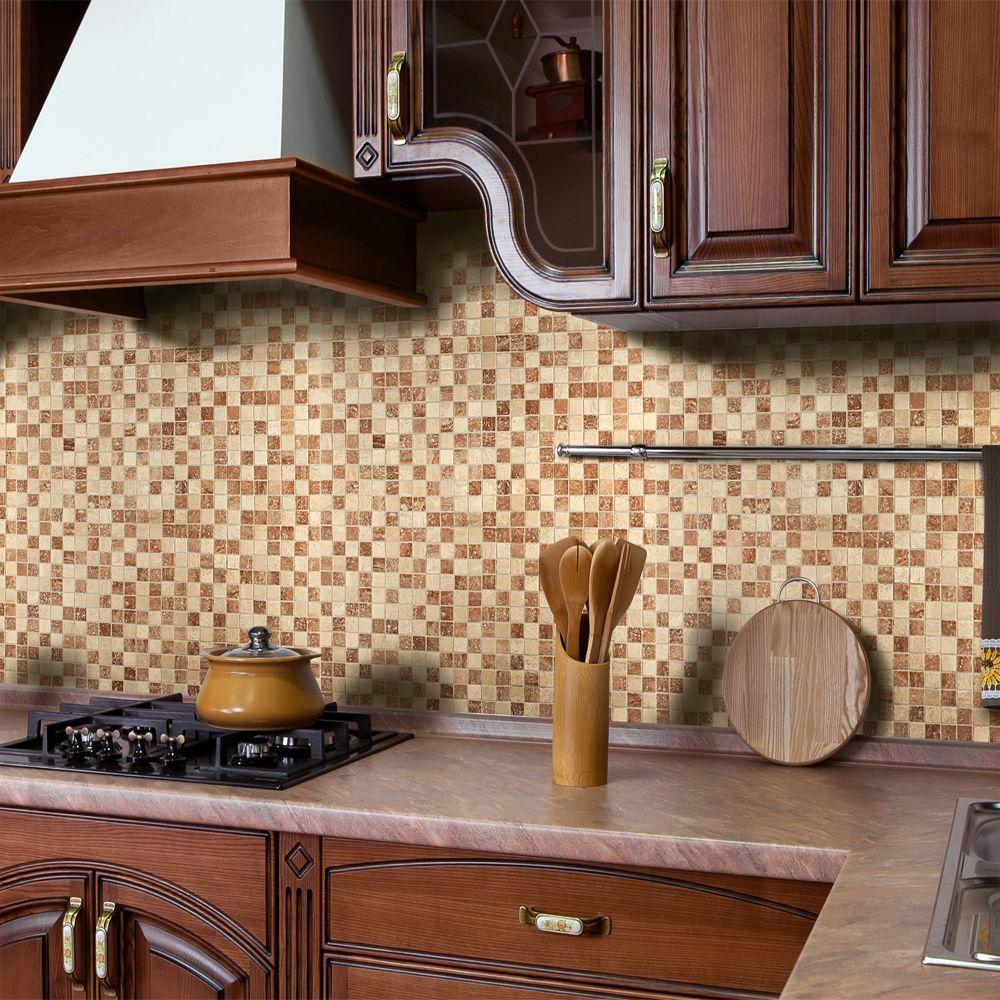 - Instant Mosaic 12 In. X 12 In. Peel And Stick Natural Stone Wall