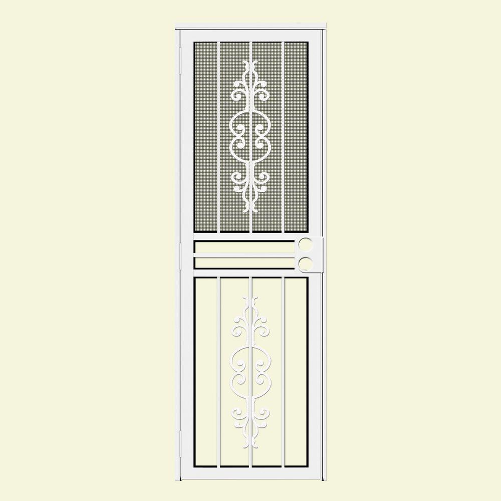 Unique Home Designs 28 in. x 80 in. Estate White Recessed Mount All Season Security Door with Insect Screen and Glass Inserts