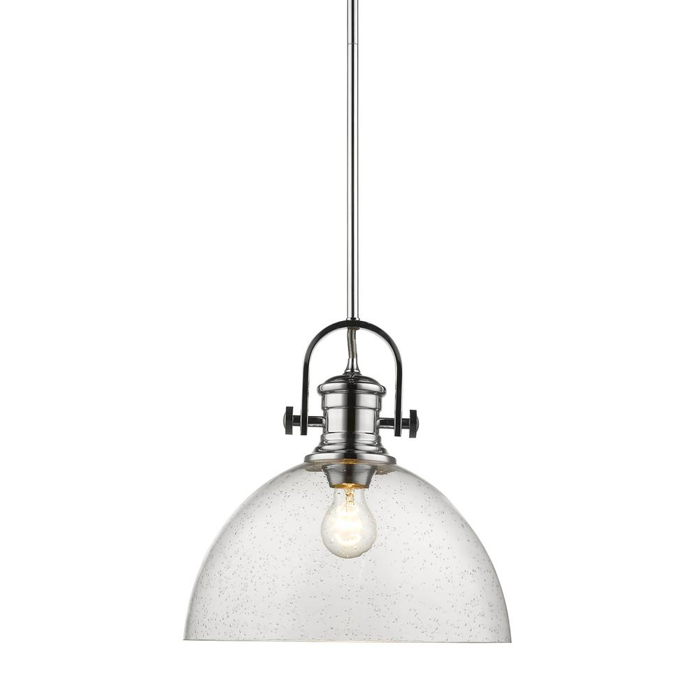 Hines 1-Light Chrome and Seeded Glass Pendant