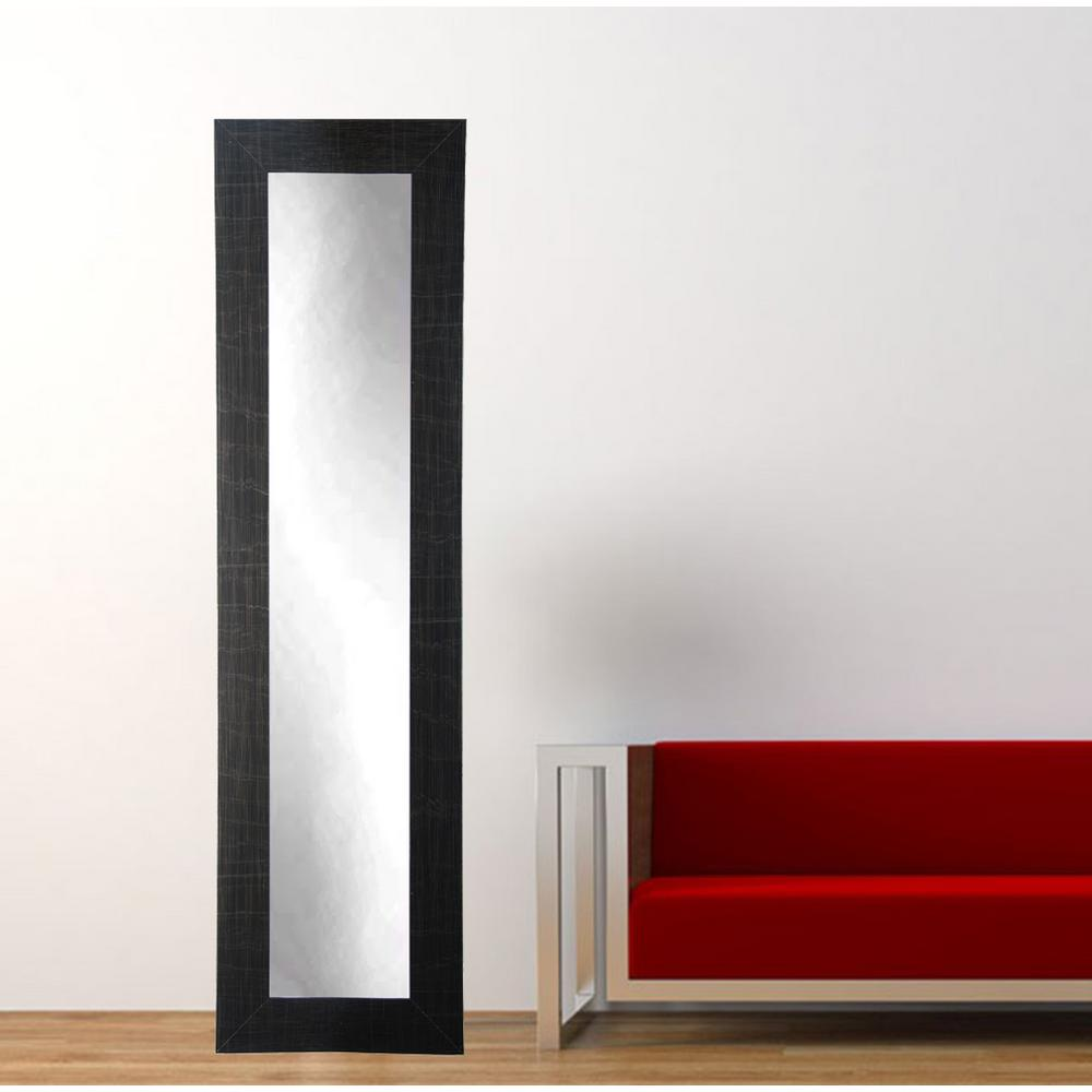 Modern scratched black full length framed mirror bm5skinny for Full length mirror black frame