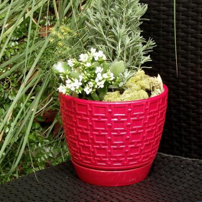 10 in. Red Cubelinx Ceramic Planter