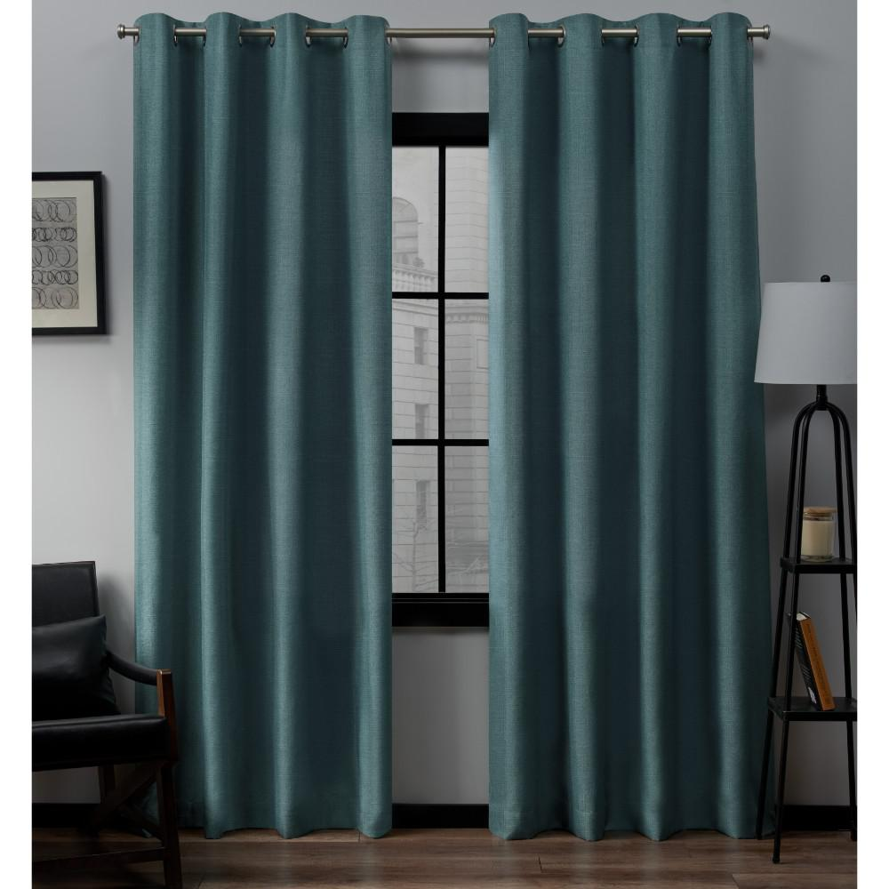 Loha 54 in. W x 96 in. L Linen Blend Grommet Top Curtain Panel in Blue Teal (2 Panels)