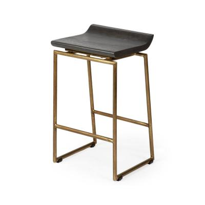 Givens 24.25 in. Seat Height Brown Wood Seat Gold Metal Frame Stool