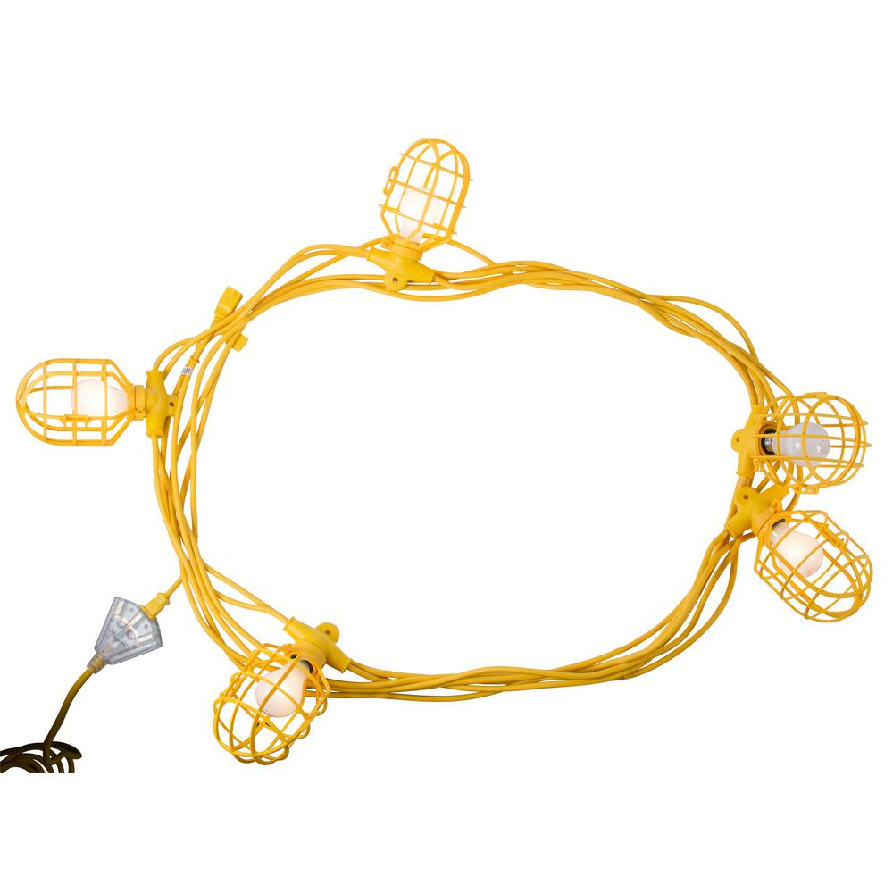 Construction Site String Lights: Bergen Industries 50 Ft. 14/2 SJTW 5-Light Plastic Cage