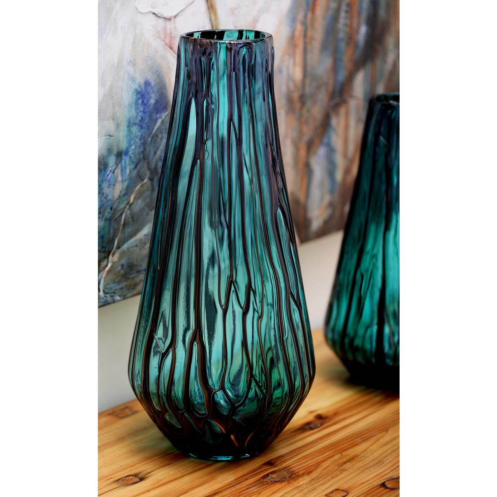 LittonLane Litton Lane 18 in. Glass Decorative Vase in Teal and Light Gray, Blue