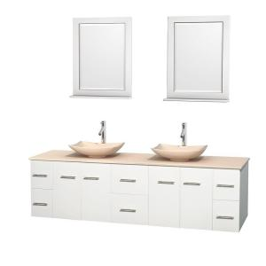 Wyndham Collection Centra 80 inch Double Vanity in White with Marble Vanity Top in Ivory, Marble Sinks and 24 inch... by Wyndham Collection