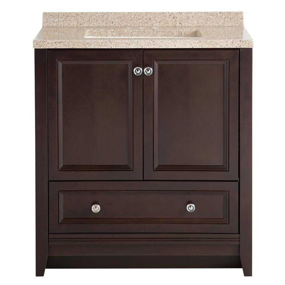 GLACIER BAY Glacier Bay Delridge 31 in. W x 19 in. D Bathroom Vanity in Chocolate with Solid Surface Vanity Top in Caramel