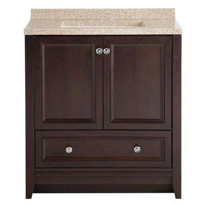 Delridge 30 in. W x 19 in. D Bath Vanity in Chocolate with Solid Surface Vanity Top in Caramel