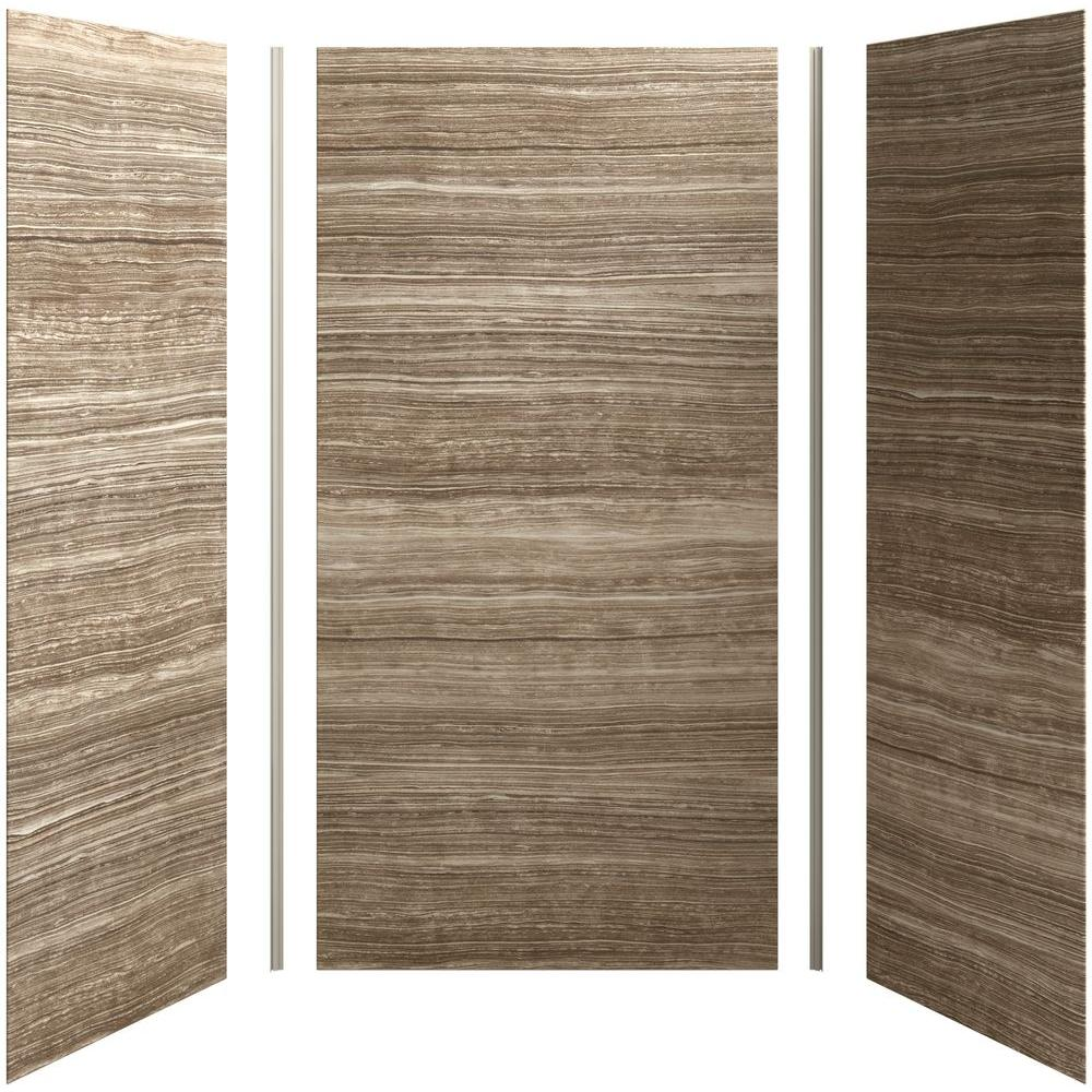 kohler choreograph 48in x 36 in x 96 in 5piece shower wall surround in veincut sandbar for 96 in the home depot