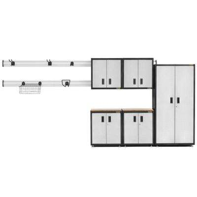 Ready-to-Assemble 72 in. H x 92 in. W x 18 in. D Steel Garage Cabinet Set in Silver Tread Plate (14-Pieces)