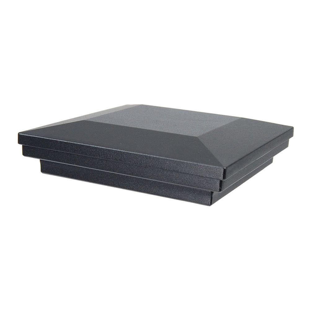 5 in. x 5 in. Black Sand Aluminum Flat Pyramid Post Cap