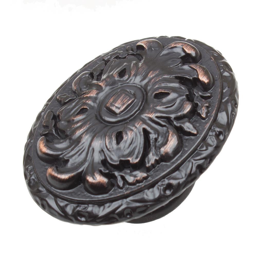 GlideRite 2 inch Dia Oil Rubbed Bronze Old World Ornate Oval Cabinet Knob... by GlideRite