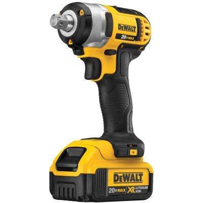 20-Volt MAX Lithium-Ion Cordless 1/2 in. Impact Wrench Kit with (2) Batteries 4Ah, Charger and Tool Bag