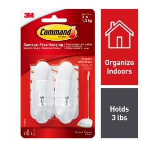 2-3M Command Medium Clear Hoods With 4 medium Clear Strips Holds Strongly 2 LB