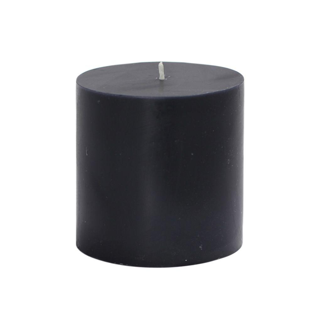 Zest Candle 3 in. x 3 in. Black Pillar Candles Bulk (12-Case)