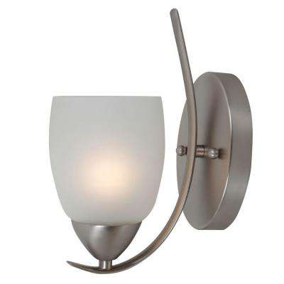 Mirror Lake 1-Light Brushed Nickel Sconce with White Etched Glass Shade