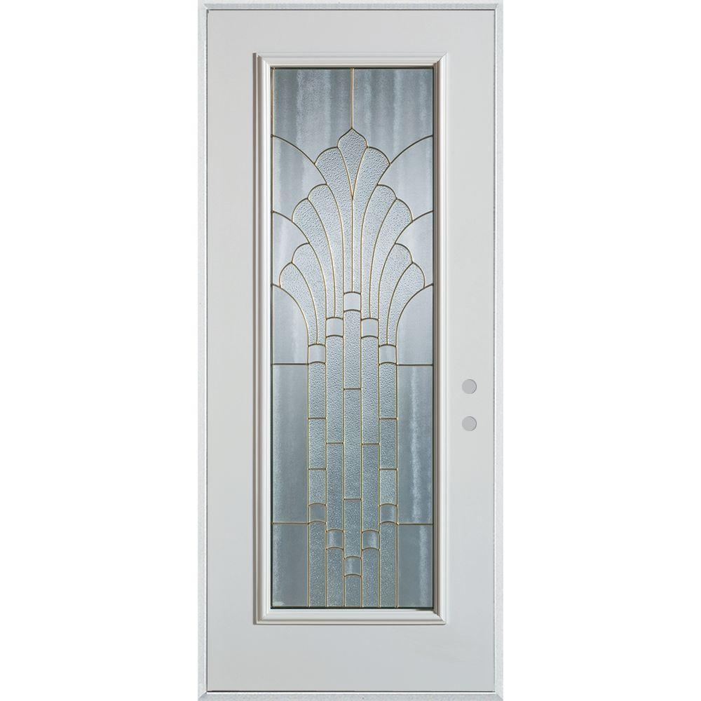 Stanley Doors 37.375 in. x 82.375 in. Art Deco Full Lite Painted White Left-Hand Inswing Steel Prehung Front Door
