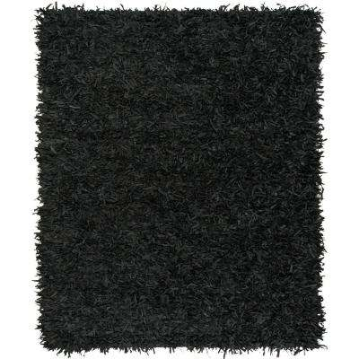 Leather Shag Black 8 ft. x 10 ft. Area Rug