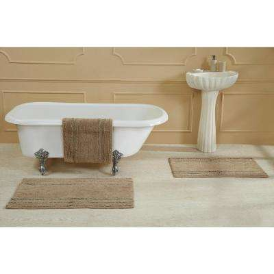 Ruffle Border Beige 17 in. x 24 in. Cotton Bath Rug