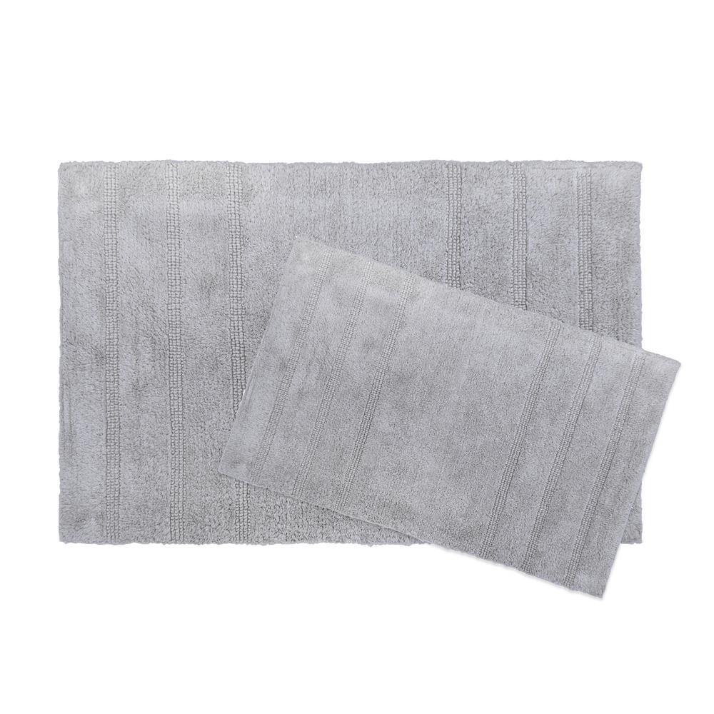 Newton Gray Stripes 2-Piece (17 in. x 24 in.; 21 in. x 34 in.) Bath Mat Set