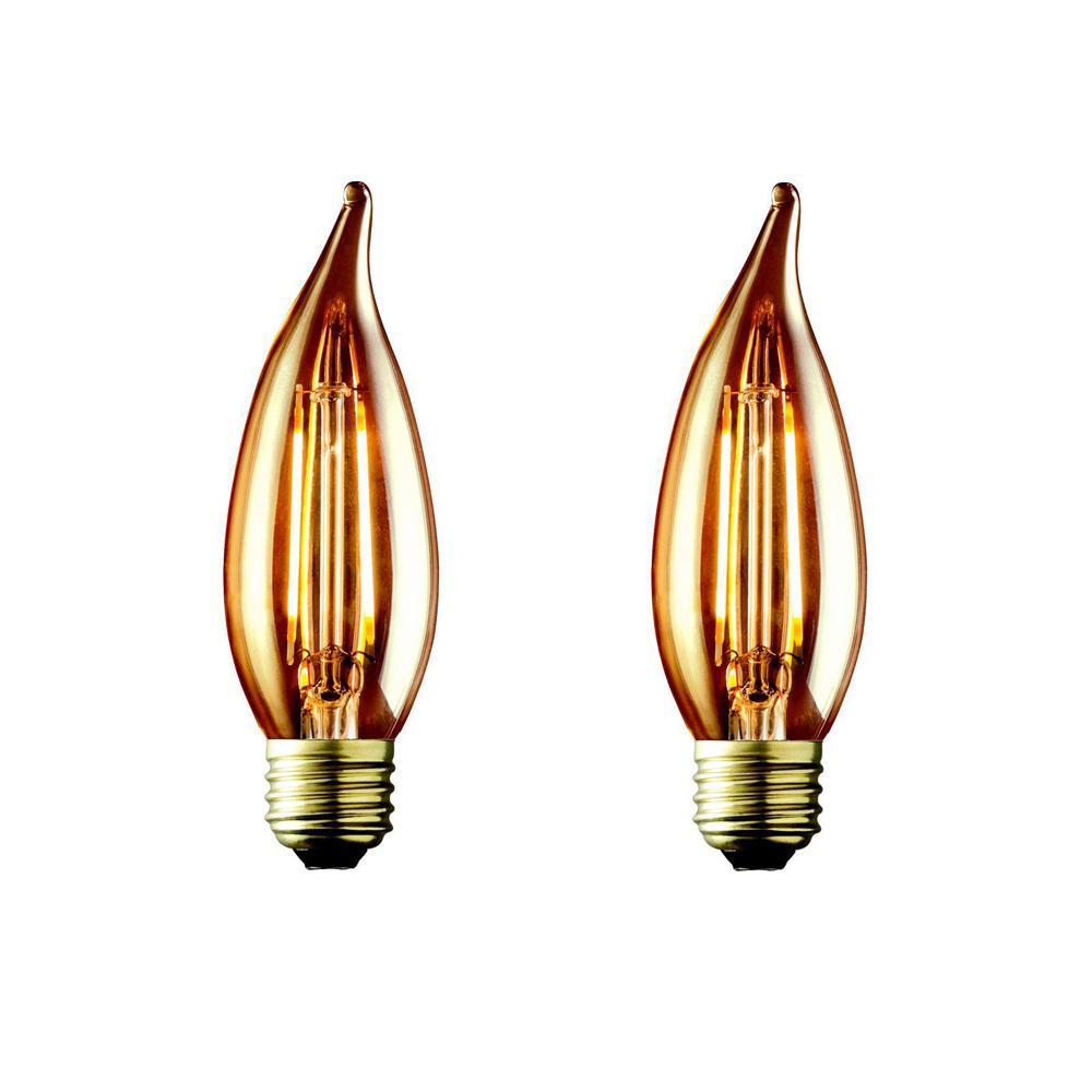 60W Equivalent Warm White CA10 Amber Lens Vintage Candelabra Flame Tip Dimmable LED Light Bulb (2-Pack)