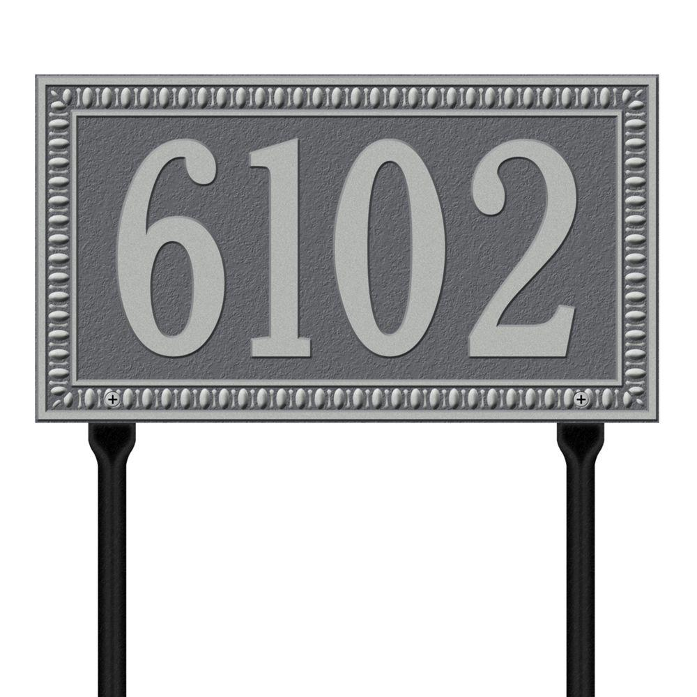 Egg and Dart Rectangular Pewter/Silver Standard Lawn One Line Address Plaque