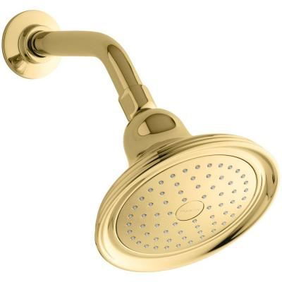 Devonshire 1-Spray 5.9 in. Single Wall Mount Fixed Shower Head in Vibrant Polished Brass