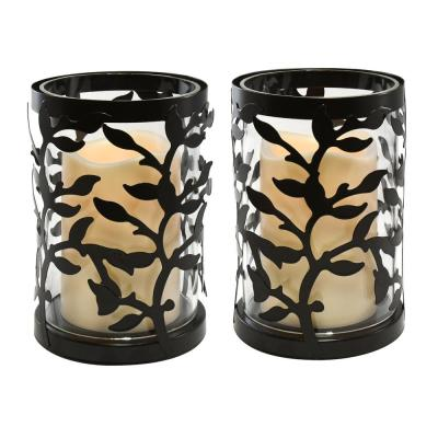 6.5 in. Vine Metal and Glass Candle Holder with LED Candle (Set of 2)
