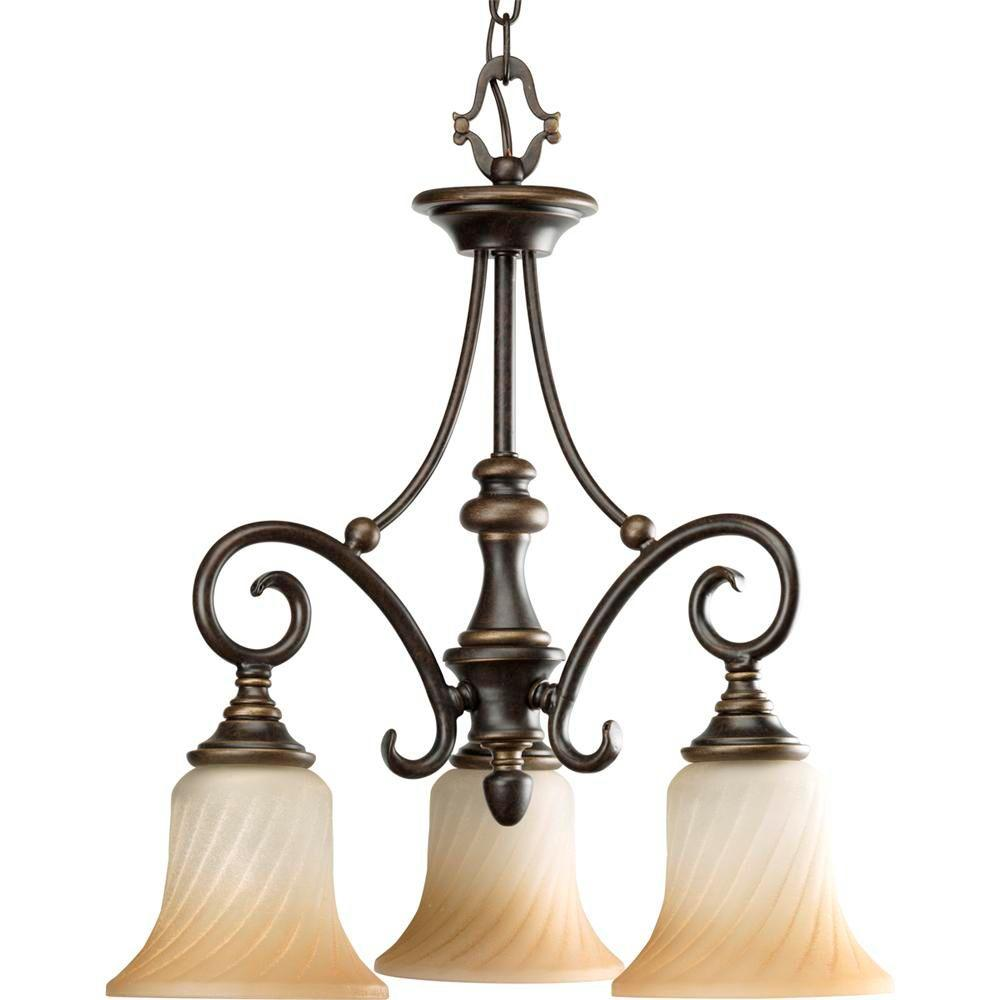 Progress Lighting Kensington Collection 3-Light Forged Bronze Chandelier