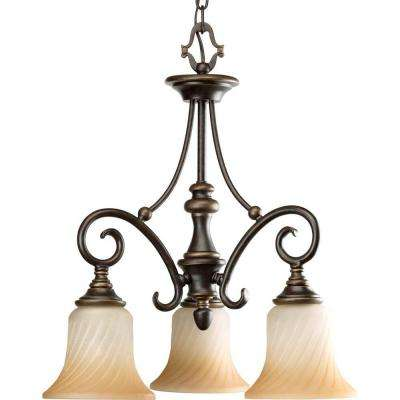 Kensington Collection 3-Light Forged Bronze Chandelier with Frosted Caramel Swirl Glass