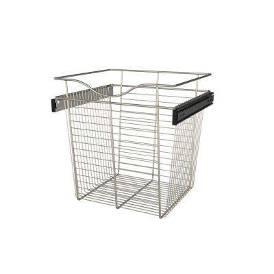 18 in. x 18 in. Satin Nickel Closet Pull-Out Basket