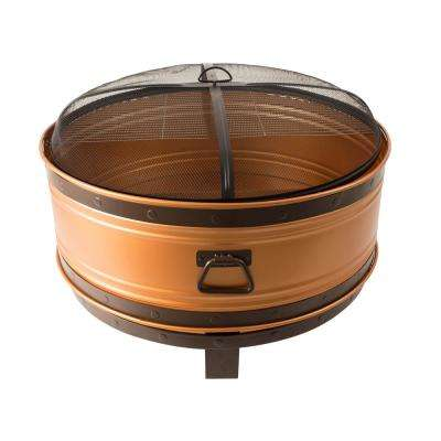 Colossal Deep Bowl 36 in. x 27 in. Round Steel Wood Fire Pit in Copper