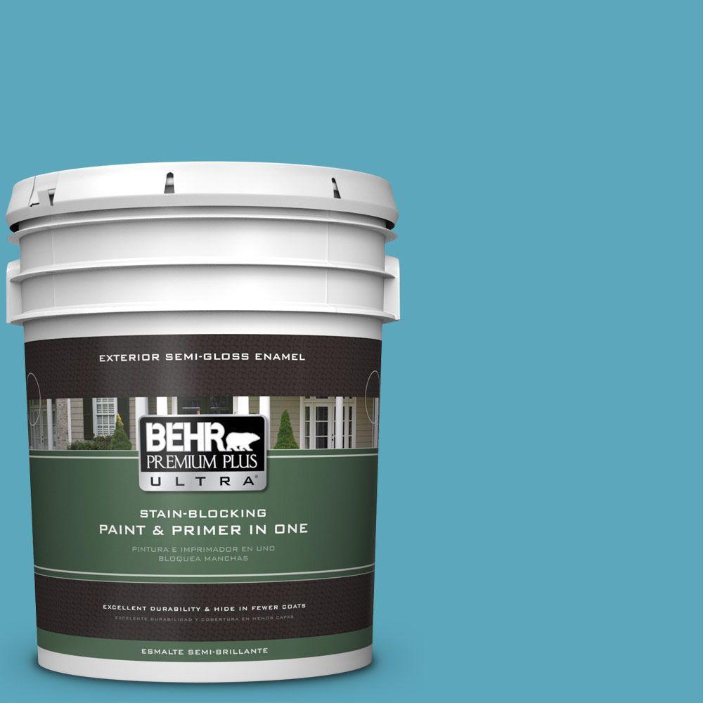 BEHR Premium Plus Ultra 5-gal. #T15-11 Sonic Blue Semi-Gloss Enamel Exterior Paint