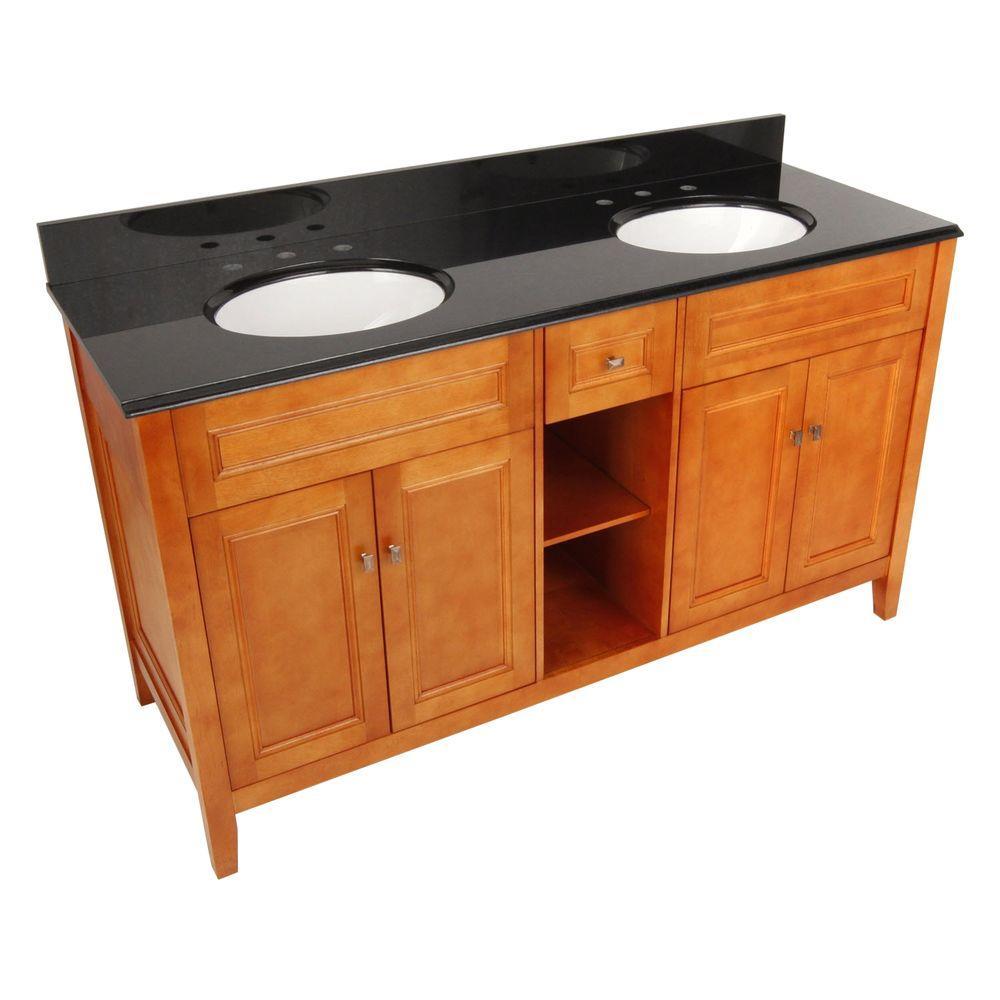 Exhibit 61 in. W x 22 in. D Vanity in Rich Cinnamon with Double Bowl Granite Vanity Top in Black