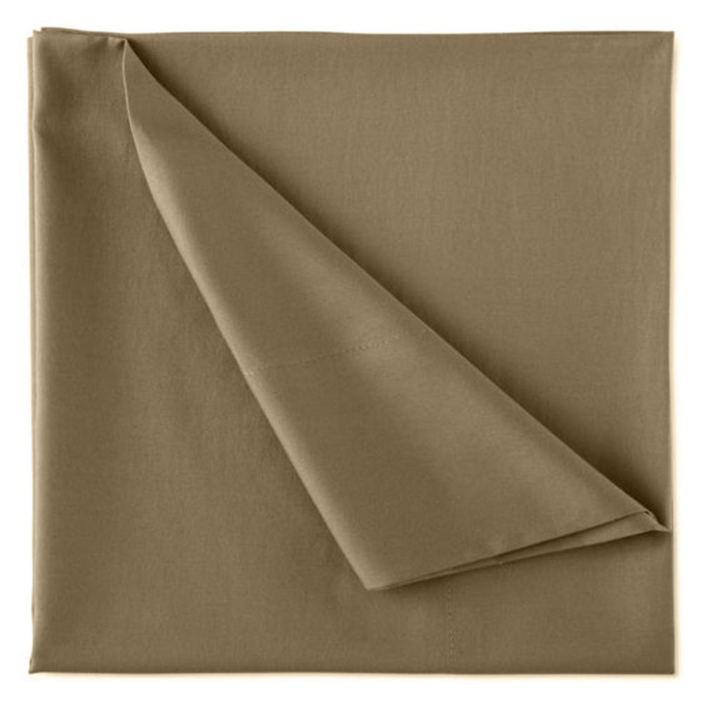 Wrinkle Resistant Sand 300TC 100% Organic Cotton Queen Flat Sheet
