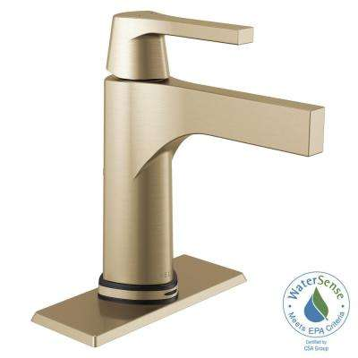 Zura Single Hole Single-Handle Bathroom Faucet with Touch2O.xt Technology in Champagne Bronze